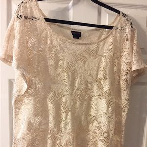 Cream laces short sleeve top